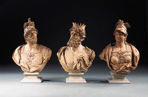 A set of six terracotta busts