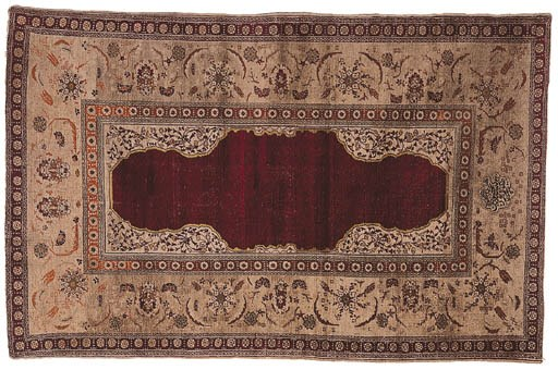 A SILK KAISERI PRAYER RUG