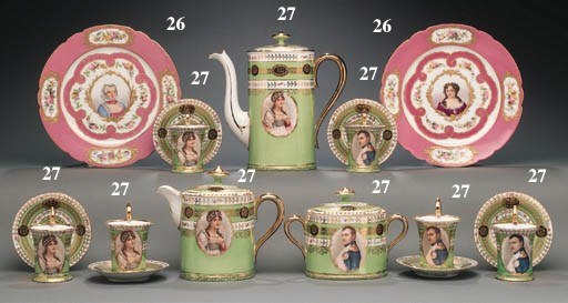 TWO SÈVRES STYLE PINK-GROUND C