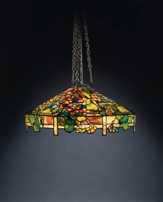 A 'NASTURTIUM' LEADED GLASS CH