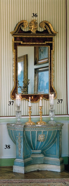 A PAIR OF BOHEMIAN ETCHED AND CUT-GLASS CANDLESTICKS