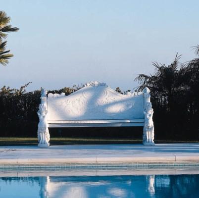 AN ITALIAN WHITE MARBLE BENCH