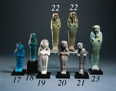TWO FAIENCE SHABTIS