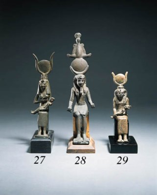 A BRONZE GROUP OF ISIS AND HOR