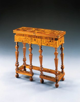 A LOUIS XIV WALNUT AND FLORAL