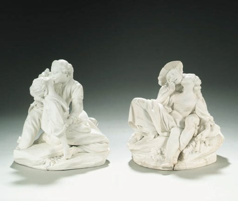A PAIR OF SÈVRES BISCUIT GROUP