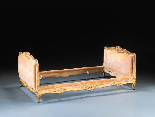 A LOUIS XV CREAM-PAINTED BED