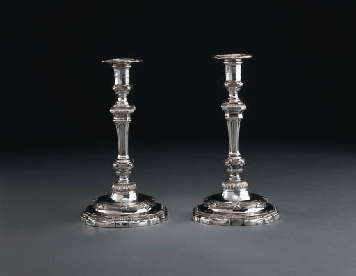 A PAIR OF LOUIS XV SILVER CAND