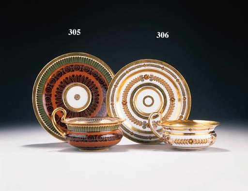 A SÈVRES IRON-RED AND GOLD-GRO
