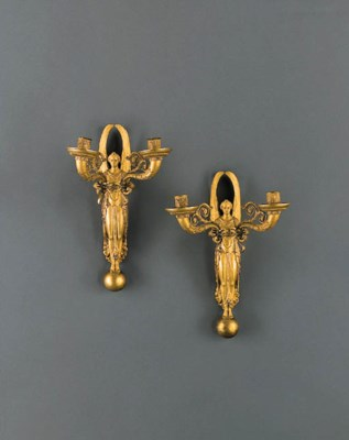 A PAIR OF EMPIRE ORMOLU TWO-BR