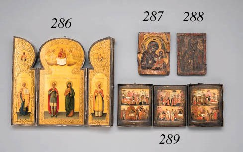 A triptych with scenes from th
