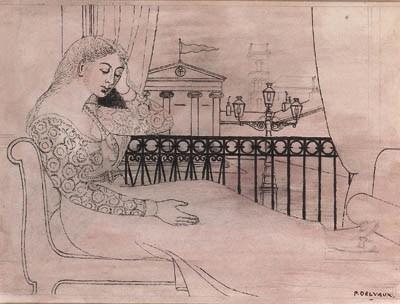 Paul delvaux 1897 1994 femme assise devant la fen tre for Devant la fenetre