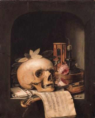Simon renard de saint andr paris 1613 1677 a vanitas still life with a wreathed skull a - Vanite simon renard de saint andre ...
