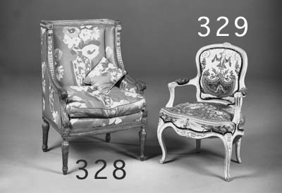 A cream painted fauteuil, late