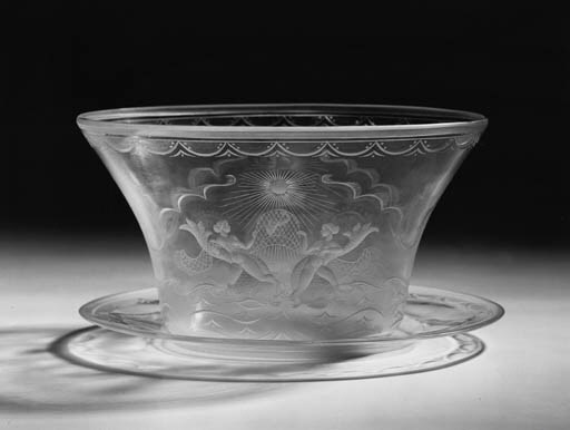 An Orrefors glass bowl and sta