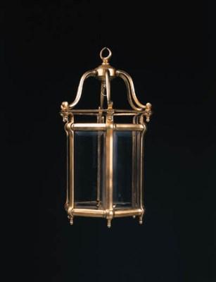A gilt-brass hexagonal hall la