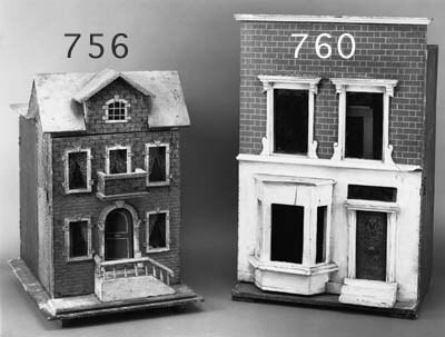 A WOODEN BOX-BACK DOLL'S HOUSE