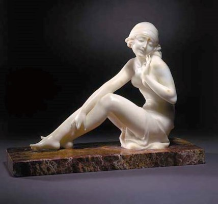An Art Deco alabaster figure