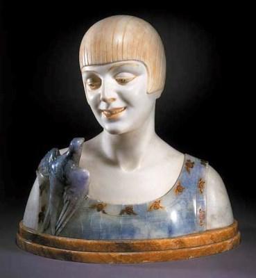 An Art Deco marble bust