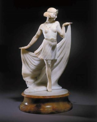 An Art Deco alabaster figural