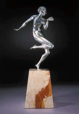 A silvered bronze figure