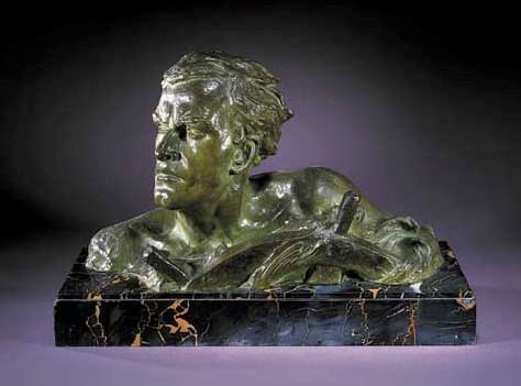 A green patinated bronze bust