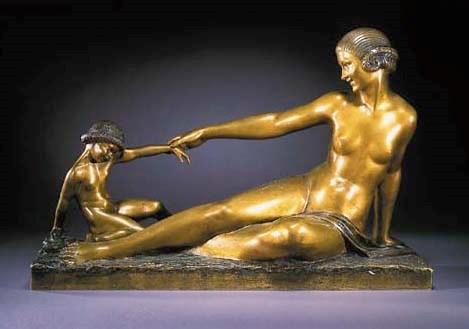 A gilt bronze figure group