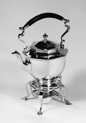 A Silver Tea Kettle, stand and