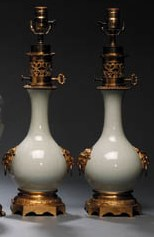 A PAIR OF ORMOLU-MOUNTED CELAD