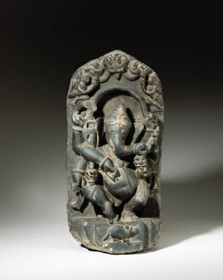 A black stone stele of Ganesha