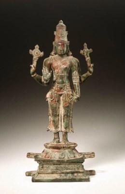 A copper figure of Vishnu