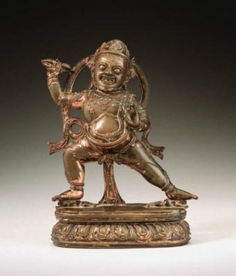 A bronze figure of Vajrapani
