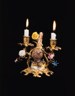 A LOUIS XV ORMOLU, MEISSEN AND