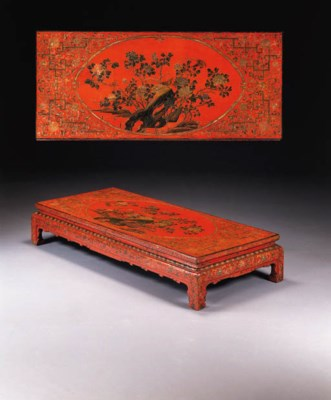 A CHINESE SCARLET AND POLYCHRO