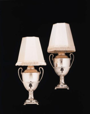 A PAIR OF GEORGE III SILVER-PL