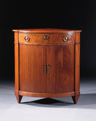 A Dutch mahogany corner cupboa