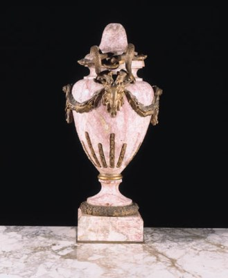 An ormolu-mounted pink and gre