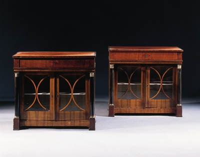 A pair of German ebonised and