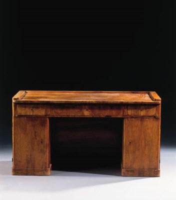 A german walnut pedestal desk