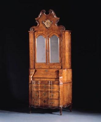 a walnut and mahogany bureau-c