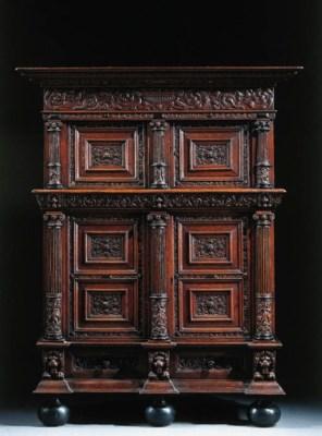 A Dutch carved oak cupboard
