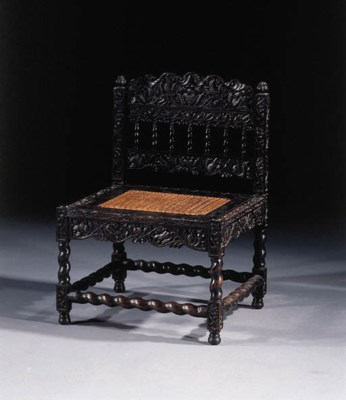 A Dutch colonial ebony chair