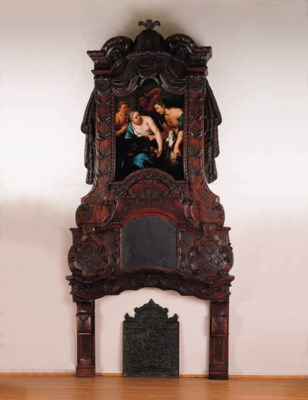 A Dutch oak chimney-piece