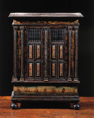 A Dutch polychrome painted and
