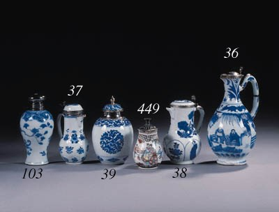 Three blue and white jars