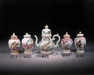 A famille rose oviform tea-cad