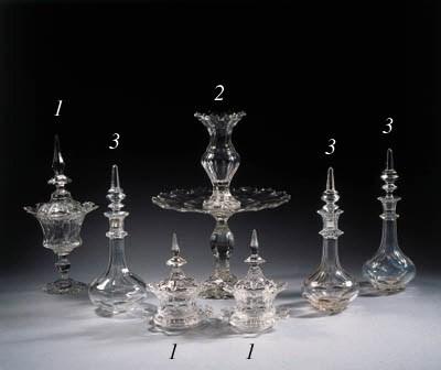 three cut-glass items