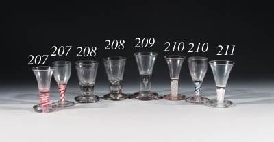 two white-twist dram-glasses