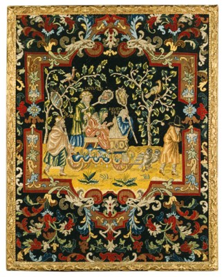 A FINELY EMBROIDERED WOOLWORK