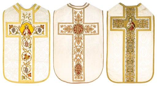 A FRENCH CHASUBLE OF IVORY DAM